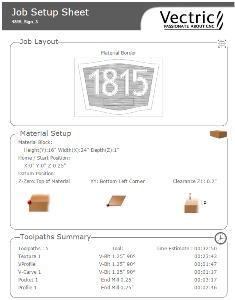 Vectric VCarve Pro Create Job Sheet