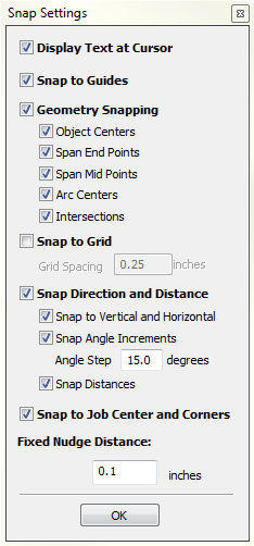 vectric Cut2D Desktop Snapping Options