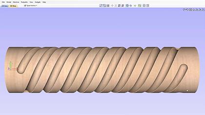 Vektriska simulerande spiralverktygsbanor